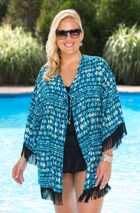 Plus Size Cover Ups Always For Me Cover Open Front Fringe Kimono Always for Me Price:$30.00 In Stock