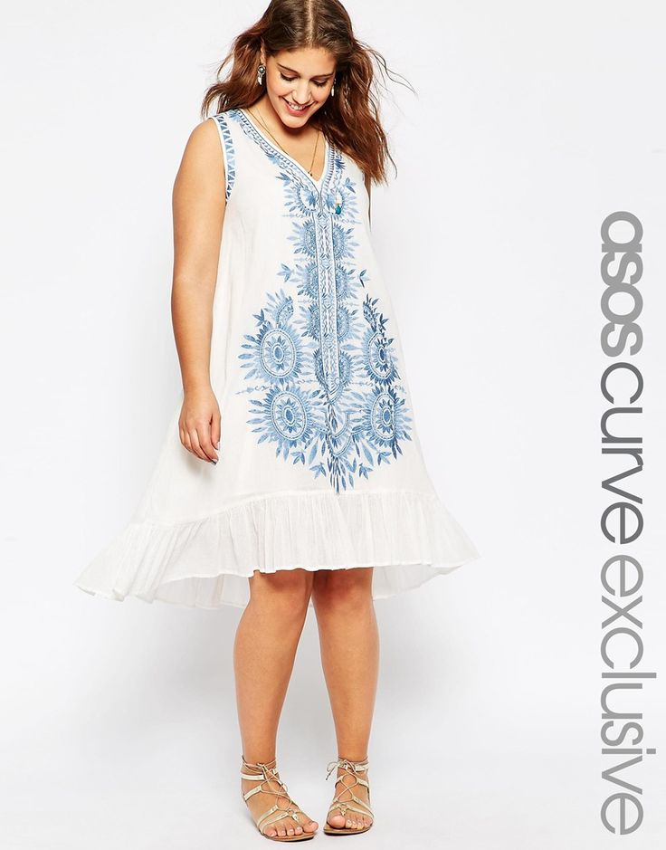 ASOS CURVE V-Neck Swing Dress With Embroidery  This with cowboy boots and leather jacket.