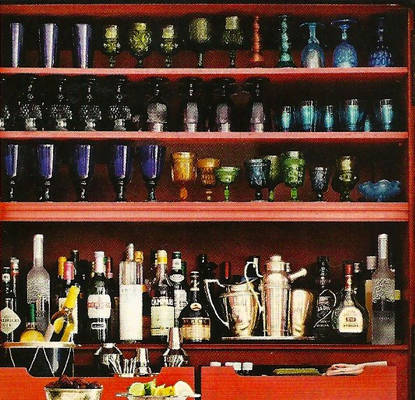 red home bar with colorful glasses mary mcdonald raise the bar rh pinterest com red barn home furnishings red barn mobile home park