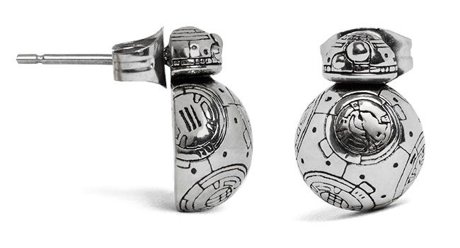 Let BB-8 travel under your protection with these Star Wars Episode VII BB-8 Droid 3D Stud Earrings. They're dimensional, each having the front half of BB-8 as the stud. Which means you basically get one tiny BB-8 unit with this pair.