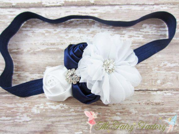 Navy Blue and White Headband Satin & от TheFairyFactoryShop