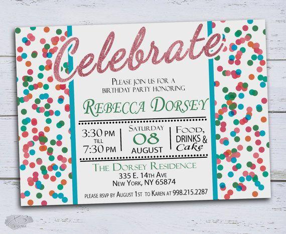 DIY Birthday Invitations Printable, Bright Confetti Kids Birthday, 30th Birthday Invitations, 5th Birthday Invites, Sweet 16, 18th Birthday by X3designs