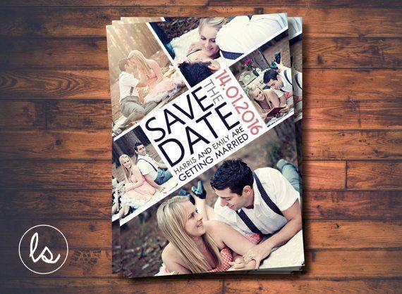 Photo Save the Date Photo Collage Save von LoveStoryInvitations
