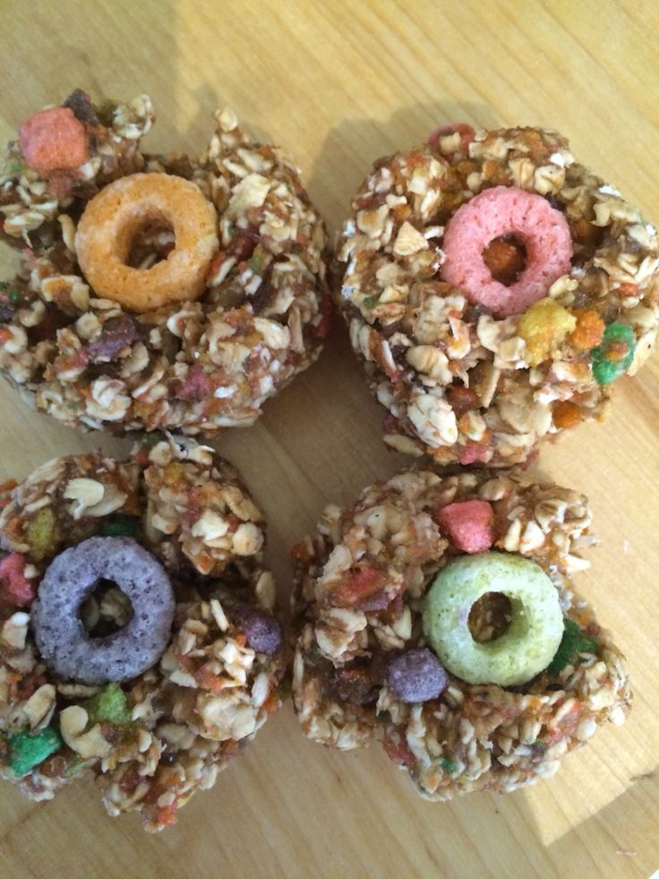 Cora's Froot Loopers Horse Treats: 1 cup of oats + 1 cup of crushed up fruit loops + 1 tsp of salt + 1/2 cup apple sauce + 1/4 cup water. Put a whole Froot Loop in the centre of each treat. Bake at 350 for 12 minutes. Go homemade horse treat recipes!!