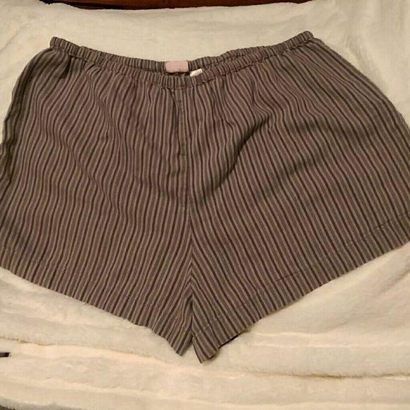 Victoria's Secret pj shorts Purple & gray striped pj shorts. Worn a few times, now rarely used. Elastic waist and soft and comfy. Victoria's Secret Intimates & Sleepwear Pajamas