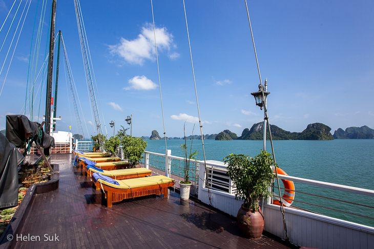 top deck of the treasure junk boat in bai tu long bay