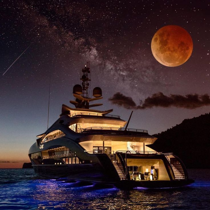 Beautiful night view with full red moon and luxury yacht. #yachtcharter #yachtin…