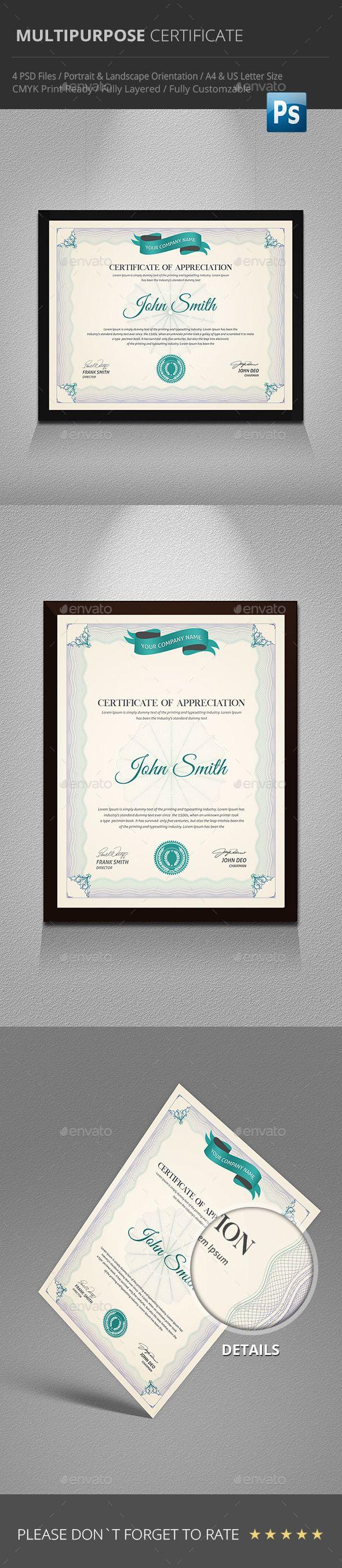 Multipurpose Certificate Template PSD. Download here: http://graphicriver.net/item/multipurpose-certificate/9691616?ref=ksioks