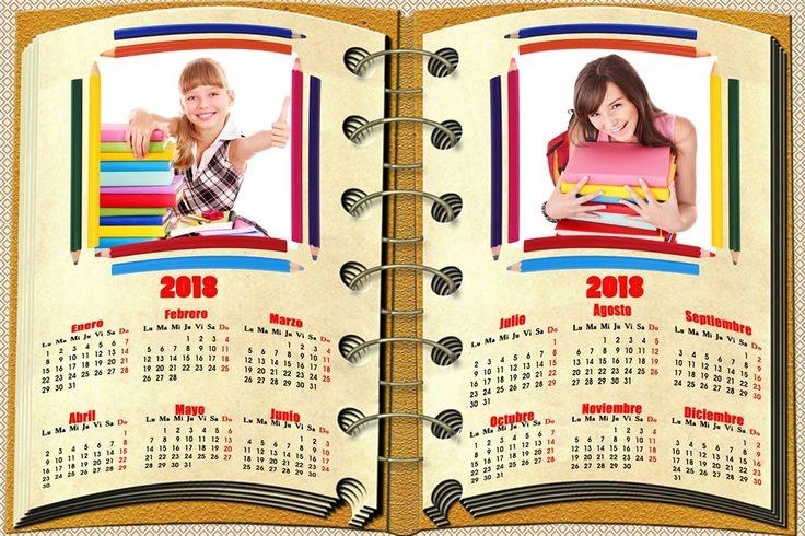 Calendarios para Photoshop: Calendario del 2018 con motivos escolares para Pho...