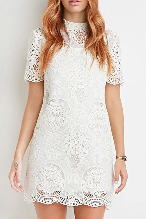 Solid Color Openwork Lace Hook Short Sleeves Dress