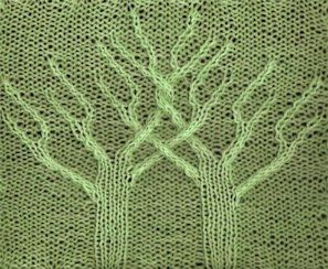 Twin Trees 2 - Knittingfool Stitch Detail (alter as mobius cowl, with branches on one side and roots on the other)