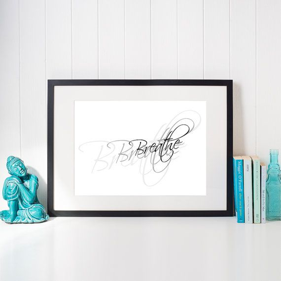 Zen spa decor, Breathe word art printable for home and office, Meditation wall decor yoga room zen art, Calligraphy text, Digital download by JantraK