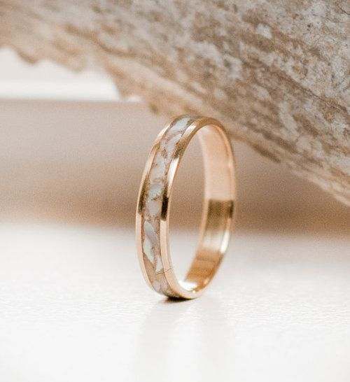 Mother of pearl stacking wedding band.