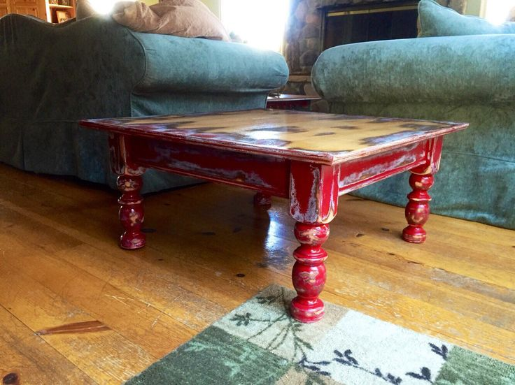 Large Farmhouse Red Coffee Table, W/ Hidden Drawer, Shabby Chic Coffee Table ,