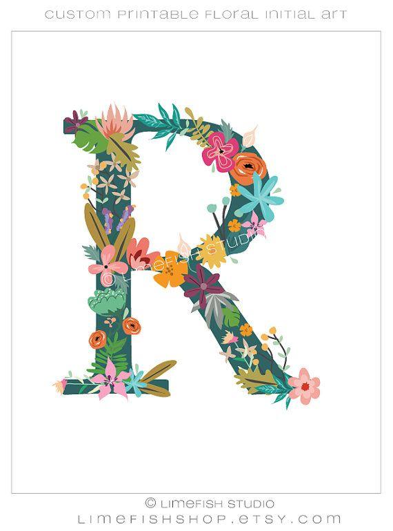 Printable Floral Initial Monogram By Limefishshop On Etsy