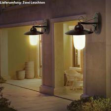 2er Set LED Wandleuchten 9 Watt Außenlampen Landhaus Balkon Höhe 31 cm Glas E27