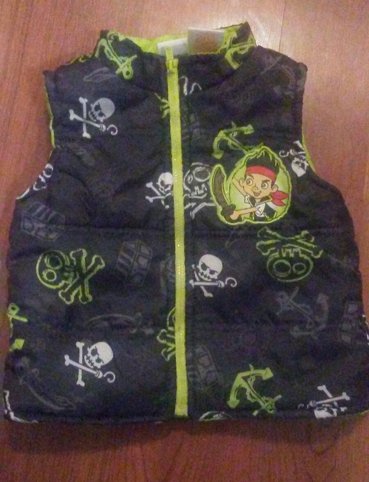 Kids Vest Jake and the Never Land Pirates Toddler Full Zipper Disney Size 2T #Disney #Everyday