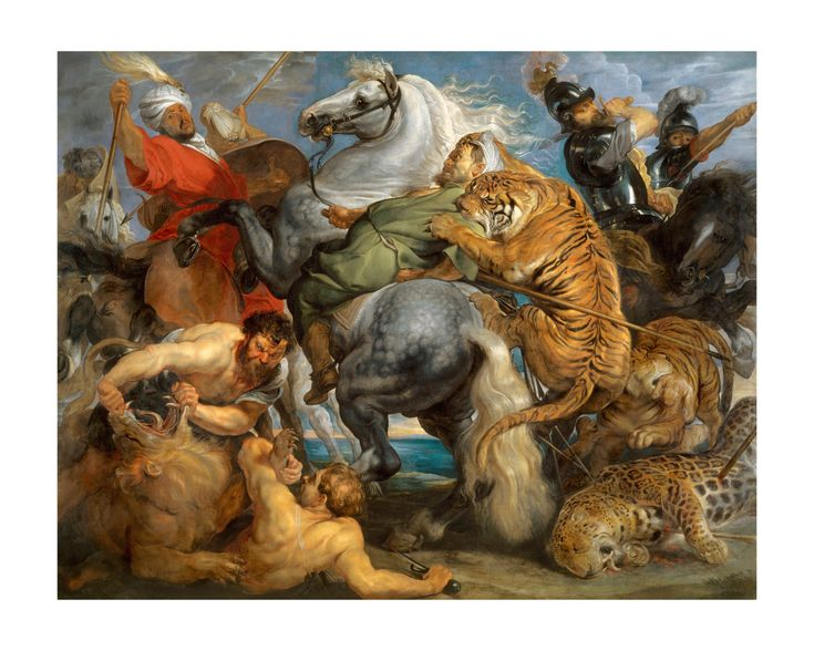 Tiger Lion and Leopard Hunt Vintage Art Print by Peter Paul Rubens - $44  Behold the majestic Baroque oil painting of Tiger, Lion, and Leopard Hunt by master painter Peter Paul Rubens from 1616. The painting is one of four hunting paintings commissioned by Maximilian I, Elector of Bavaria to decora