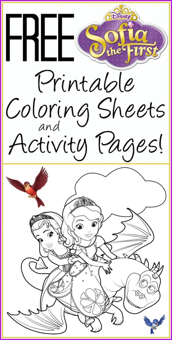 Free printable Sofia the First coloring pages and activity sheets. #Disney #printable #free