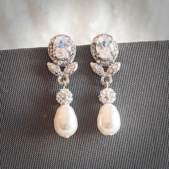 Statement Bridal Earrings Swarovski Teardrop by GlamorousBijoux