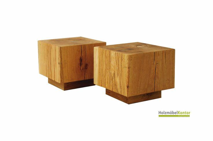 Holzblock-Tische aus massiver Eiche. Charmante Optik in gerissener Eiche. Mehr #Tische und  #Holzblöcke im www.holzmoebelkontor.de