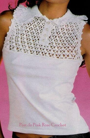 Переделка: кокетка крючком для трикотажной блузки. Комментарии : LiveInternet…