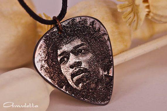 Jimi Hendrix guitar pick necklace  Guitar gods by AmulettaHu