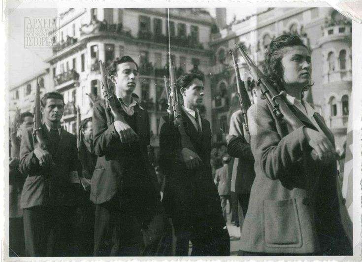 Thessaloniki, Greece, October the 30th, 1944. ELAS reservists parade in the city