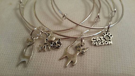 Love my Cat Bangles Set of 4 Stacker Bangles Silver Plated bracelet Charm Cat Person Cat Lover Christmas gift adjustable Stacking  Kitten