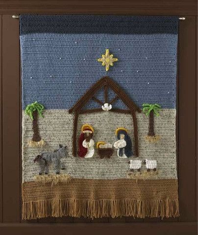 Picture of Nativity Afghan and Wall Hanging Crochet Pattern ༺✿ƬⱤღ✿༻