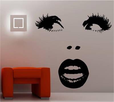 mirror stickers wall decor lips | SEXY WOMANS FACE LIPS wall art sticker vinyl DECAL | eBay