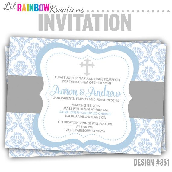851: DIY  Baby Blue Damask Party Invitation Or Thank You Card