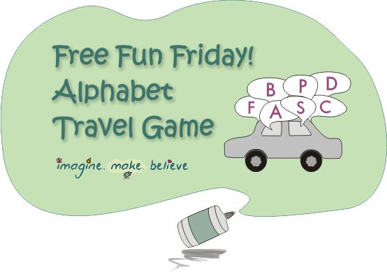 Our first Free Fun Friday post! A fun, free travel game that keeps eyes and minds busy while practising the alphabet.