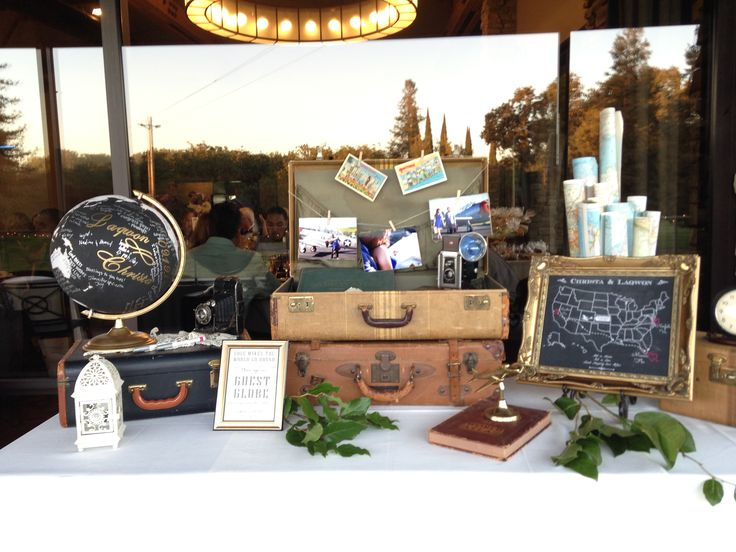 Vintage Travel-Themed Guest Sign-in table with vintage suitcases, atlases, cameras and rolled maps. A brass, desktop airplane completes the theme.