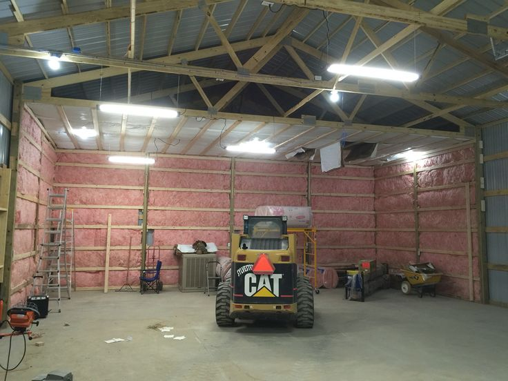 Starting the pole barn insulation.