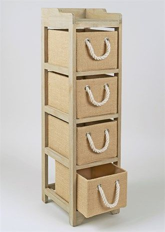 4 Drawer Wooden Tower Unit (24cm x 28.7cm x 95.5cm)
