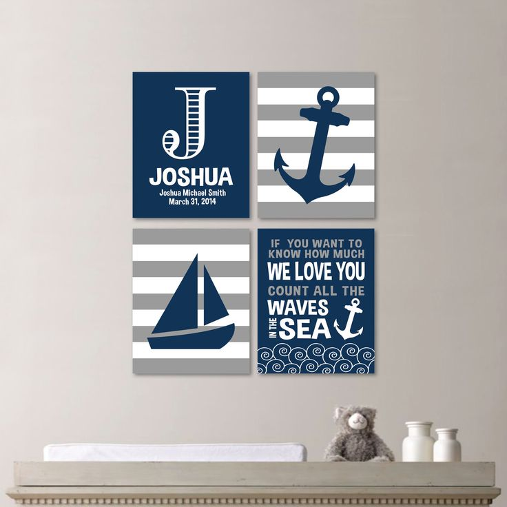 Baby Boy Nursery Art - Nautical Nursery Decor - Nautical Nursery Print -Nautical Nursery Art -Navy White Gray - You Pick the Size (NS-513) by RhondavousDesigns2 on Etsy