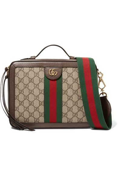 GUCCI OPHIDIA SMALL TEXTURED LEATHER-TRIMMED PRINTED COATED-CANVAS CAMERA  BAG.  gucci  bags  canvas  leather  accessories  shoulder bags  wallet   hand bags e43b43de9ae00