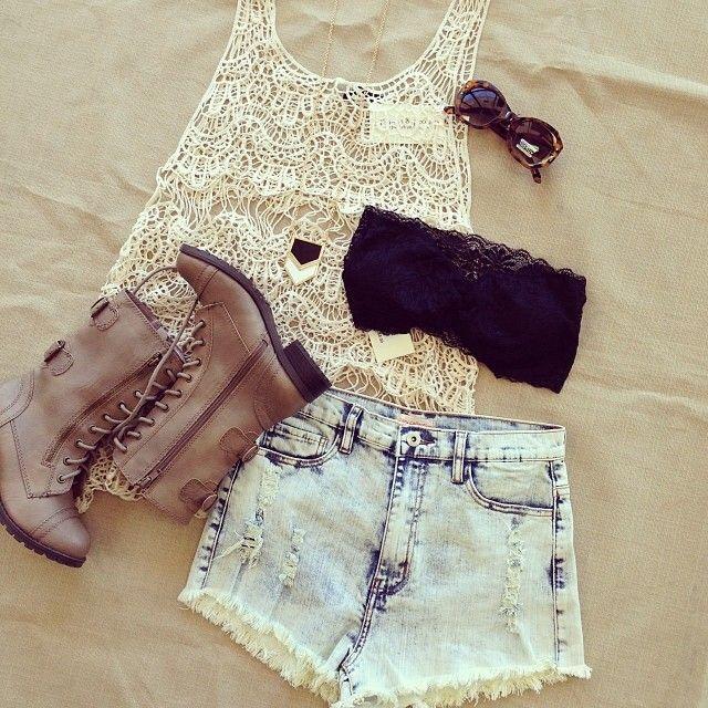 Summer Outfit - Crochet Top - Lace Bandeau - Shorts - Combat Boots