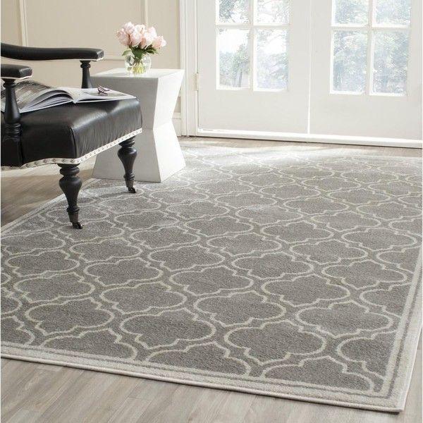 Safavieh Amherst Light Grey/ Ivory Rug (Olefin ($295) ❤ liked on Polyvore featuring home, rugs, grey, ivory rugs, geometric area rug, cream rug, safavieh rugs and light grey rug