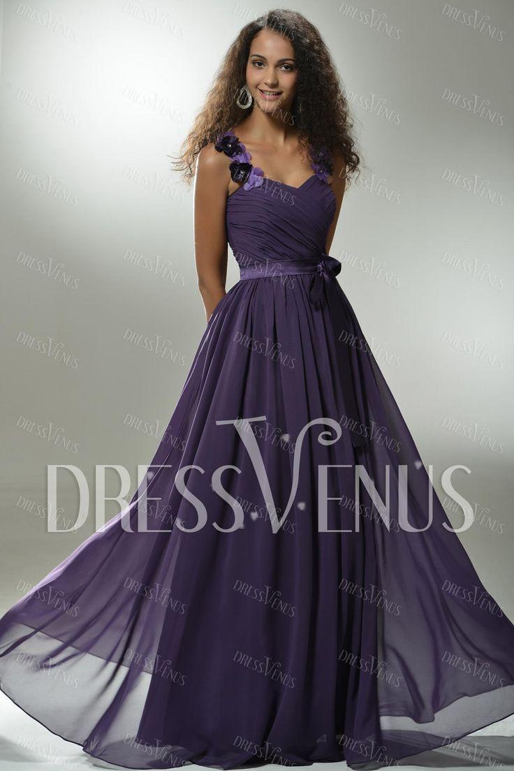 Graceful A-Line Floor-Length Straps Prom/Evening Dress