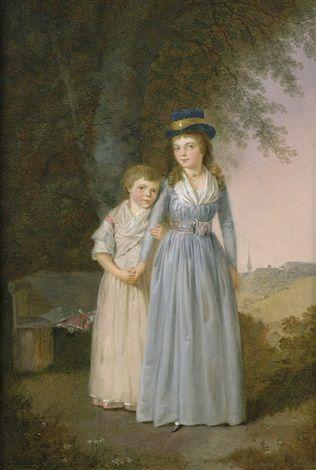 blue long sleeved chemise dress. Franz NiklausKönig: Die Töchter des Pfarrers Müslin in Sigriswill , 1795