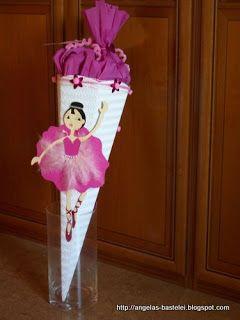Eine kleine Ballerina in Pink ziert diese Schultüte. Stampin' Up!