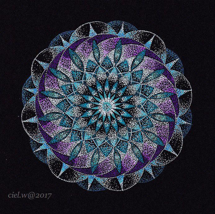 【宙奏点描曼荼羅】フライングソーサー。|絵を描く人ciel.w(しえる。) のふんわり ほんわり キラキラ ブログ♪