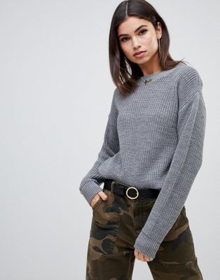 2d4e3080d4 Boohoo basic knitted crew neck sweater in gray | Christmas 2018 ...