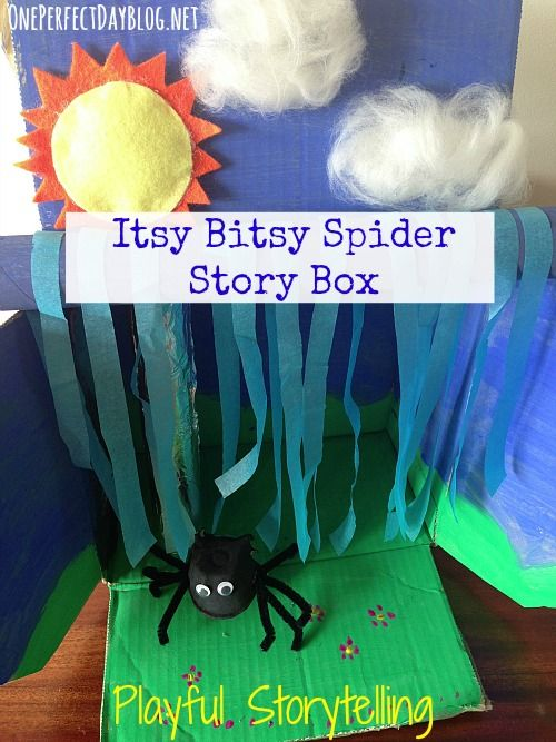 Playful storytelling: An Itsy Bitsy Spider story box made from recycled materials. Such a fun way to bring traditional nursery rhymes to life.