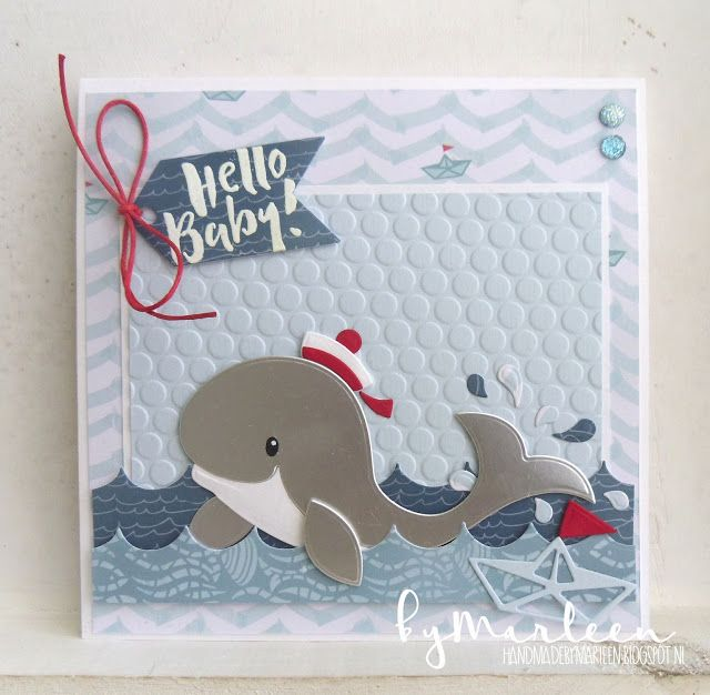Handmade card by DT member Marleen with Collectables Eline's Whale (COL1430) & Craftables Label XL & Labels XS ( CR1353) from Marianne Deisgn