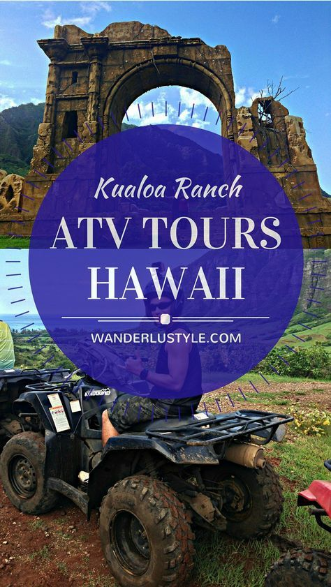 Here's a must on Oahu if you're looking for an activity to do! ATV Movie Tour at Kualoa Ranch where they show you Jurassic Park, 50 First Dates, Lost TV Show, Godzilla, and Pearl Harbor film locations. Lots of fun with the family! | Wanderlustyle.com