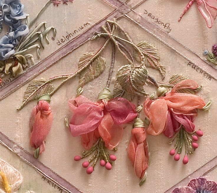 492 best ribbon flowers tutorials photos images on pinterest silk ribbon embroidery i ribbonwork the fuchsias from my res book see how the one leaf stands proud of the others by di van niekerk mightylinksfo