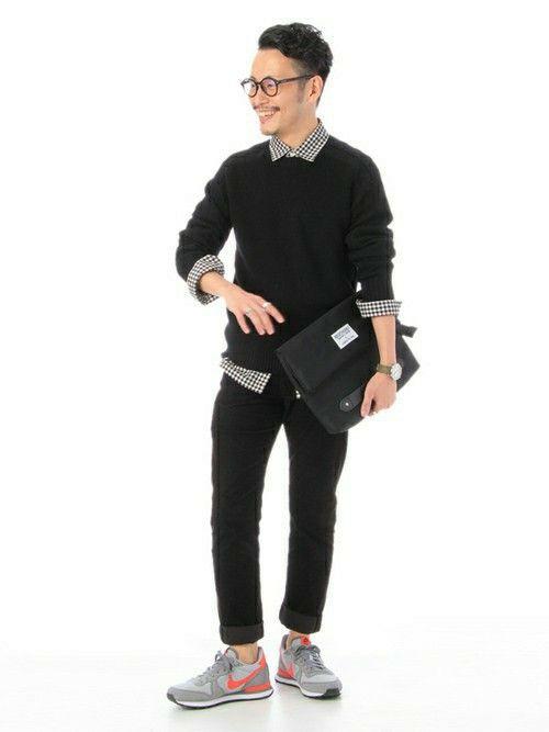 シャツ メンズ 着こなしのニット/セーター「TAKEO KIKUCHI プルオーバーニット」を使ったコーディネート